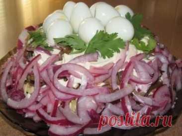 Замечательный салат «КУРОЧКИНО ГНЕЗДО». Гости будут в восторге! Прекрасный вариант к праздничному столу!