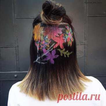 Граффити на волосах — новый тренд в окрашивании волос, который захватил интернет