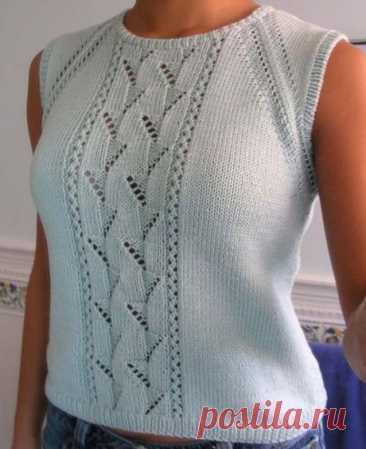 Летний топ спицами для женщин с имитацией реглана, Вязание для женщин