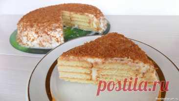 Торт без выпечки с творожным кремом. Торт из обычного печенья