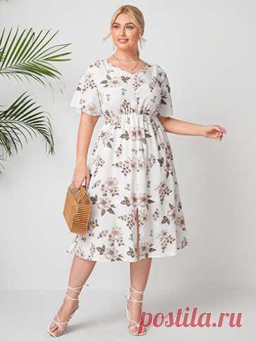 Летние платья Sunshine dresses ЛЕТНЕЕ ПЛАТЬЕ С ЦВЕТОЧНЫМ ПРИНТОМ А1607 Размеры 40,42,44,46,48,50,52,54,56,58 Состав 95% хлопок, 5% эластан