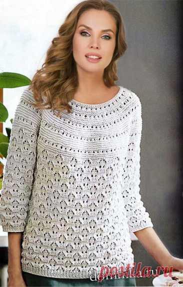 Вязаный пуловер для полных женщин - описание и схемы вязания спицами