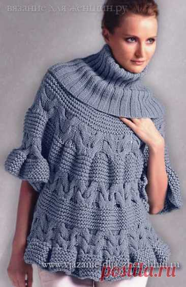 Женский пуловер-пончо спицами