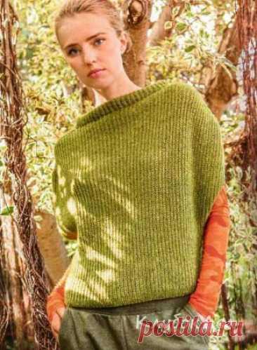 Светло-зеленый жилет спицами Самая необычная модель сезона! Вы уже придумали, как и с чем будете носить этот жилет связанный спицами?Размеры: 36/38 (40/42) 44/46Вам потребуется: 300 (350) 400 г светло-зелёной (цв. 2) пряжи Есо-puno (72% хлопка, 17% мериносовой шерсти, 11% альпака, 215 м/50 г) Lana Grossa: спицы № 4, круговые