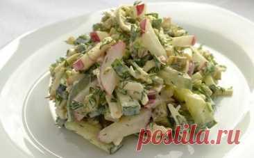 """Вкусный и пикантный сырный салат с редиской """"Весенняя свежесть"""""""