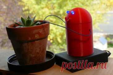 Симпатичный бот сигнализирующий о необходимости полить растение Этот симпатичный робот напоминает пользователю о необходимости поливки растений. Если глаза у робота светятся, значит поливать еще рано, если светодиоды не горят - значит необходимо полить растения. Инструменты и материалы: