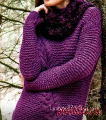 Удлиненный пуловер с косами и мохеровый снуд схема спицами » Люблю Вязать