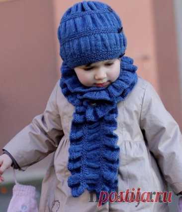 Детская шапочка спицами + шарф