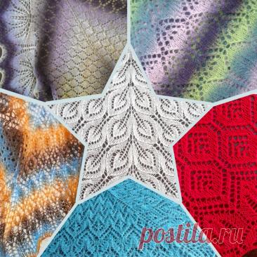 🧶 8 связанных мной шалей из пряжи Кауни | Сундучок с подарками | Яндекс Дзен