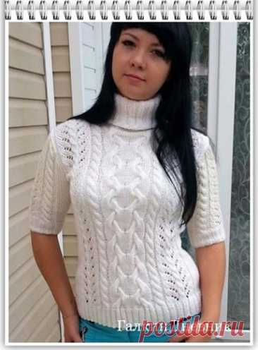Галкин Дневник: Летний, женский свитер с коротким рукавом, связанный спицами