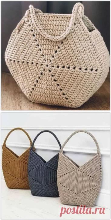 Вяжем крючком интересные сумочки из шестиугольных мотивов