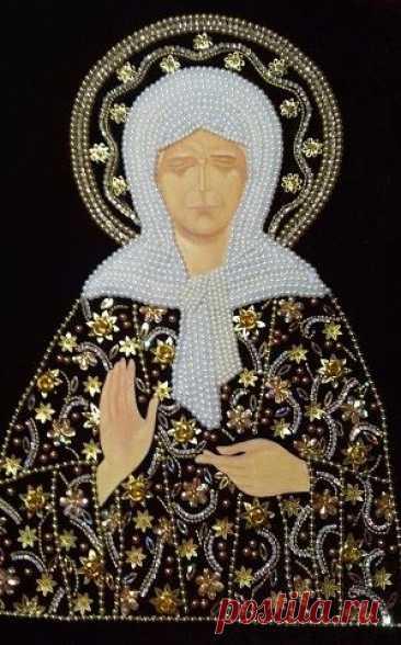 Св.Блаженная Матушка Матрона.  Вышивка бисером
