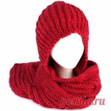 Вяжем капюшон-шарф спицами. Просто. - Страна Мам