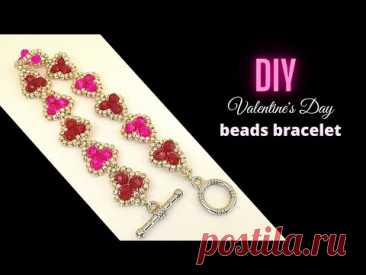 How to make a beautiful bracelet for Valentine's Day. Beading tutorial. Beaded Bracelet