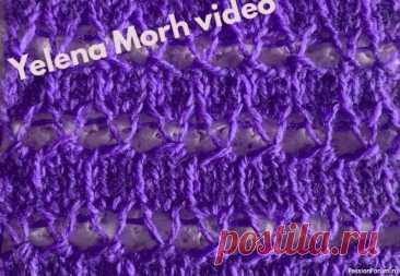 Узор-мережка из редких петель. Видео МК | Вязание для женщин спицами. Схемы вязания спицами Мережечный узор на спицах.
