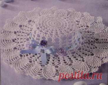 Летняя шляпка с полями связанная крючком. Схема для летней шляпки крючком