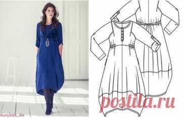 Платье/туника в стиле Бохо #Готовые_выкройки на размеры 34-54 евро (Россия +6)