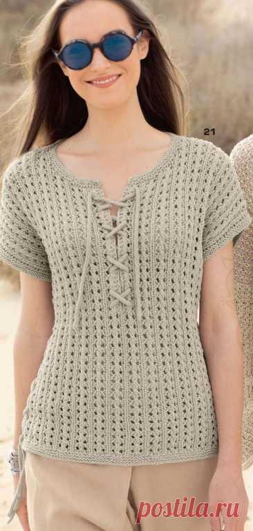 Ажурный пуловер без рукавов, вяжем спицами Все дело в деталях – в центре внимания шнуровки у горловины и по бокам.