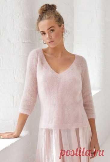 Нежный женский пуловер из мохера, Вязание для женщин
