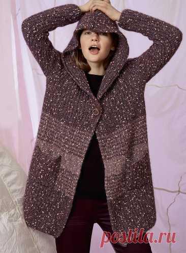 Пальто с капюшоном и карманами — схема вязания спицами с описанием на BurdaStyle.ru