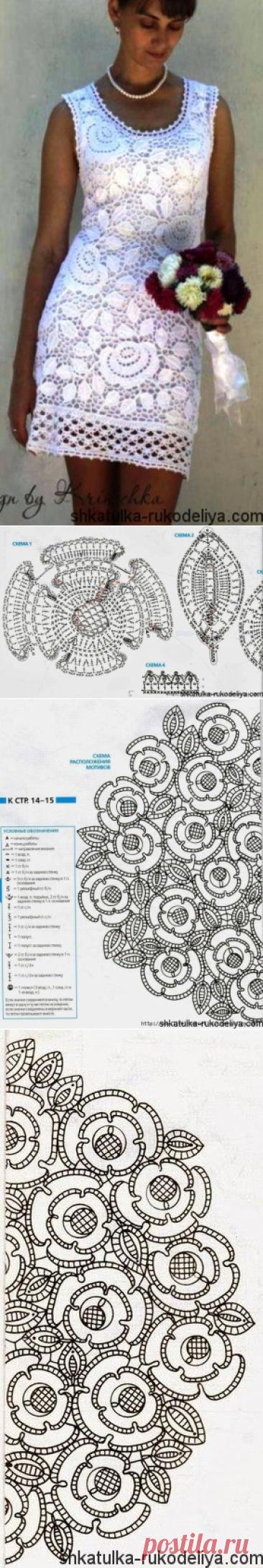 Платье в технике ирландского кружева. Кружевное платье крючком схемы | Шкатулка рукоделия