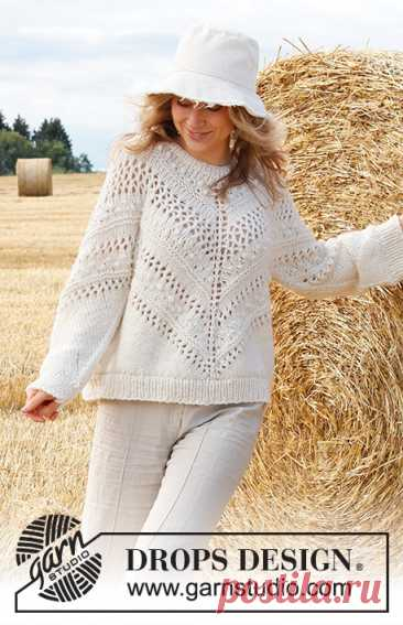 Northern Spring / DROPS 223-8 - Free knitting patterns by DROPS Design Knitted sweater in 2 strands DROPS Sky. Piece is knitted top down diagonally with lace pattern and knots. Size XS–XXL.
