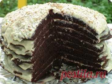 """Простой и вкусный шоколадный торт на кефире """"Ноченька"""""""