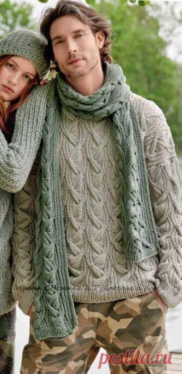 Мужской пуловер и шарф с узором из оригинальных кос Мужской пуловер с узором из оригинальных кос в комплекте с шарфом для осенне-зимнего периода. Объёмные узоры здорово смотрятся и в мужском варианте и все