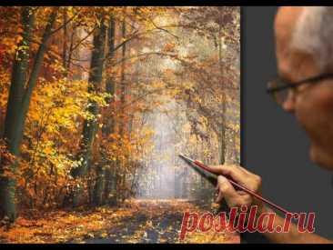 """🍁🍂 """"October"""" Painting #Shorts #Short #art #draw #drawing #shortsvideo #UVN Art"""