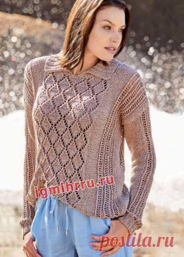 Бежевый узорчатый пуловер с отложным воротником. Вязание спицами со схемами и описанием