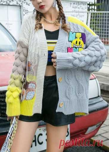 diy Yellow V Neck Button Fall Knit Sweater Coat diy Yellow V Neck Button Fall Knit Sweater CoatFabric: Knit BlendedSize & Fit: Fit: This garment fits true to size.Length: Size XL measures 24.18