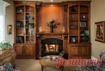 Интерьер камина вместе со стильным и функциональным книжным шкафом | Строительный блог | Яндекс Дзен