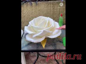 44. Как ухаживать за цветами из изолона фоамирана/ РОЗА белая
