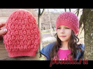 Шапочка - Берет «Бутоны» спицами 🌹 «Hat – Buds» knitting pattern