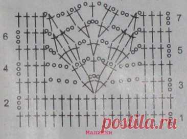 Листики крючком - в виде схемы и в готовом изделии