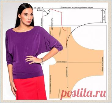 Цельнокроеные блузки и платья - модели и построение выкроек - большая подборка