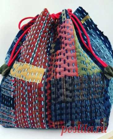 Джинсовые сумки в технике Боро. Японская вышивка Сашико | Вертолет на пенсии | Яндекс Дзен
