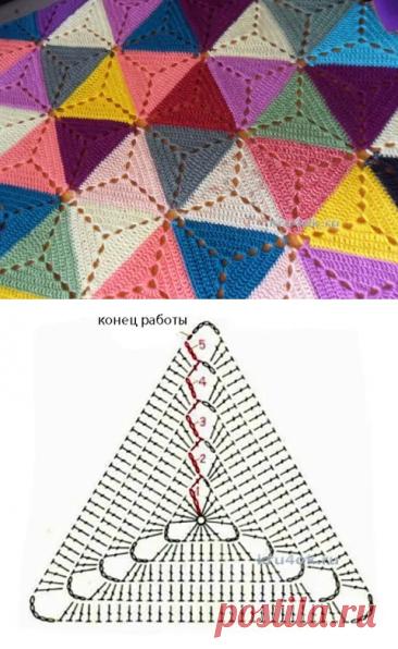Пледы из треугольных мотивов 3 крючком + 1 спицами | 38 рукоделок | Яндекс Дзен