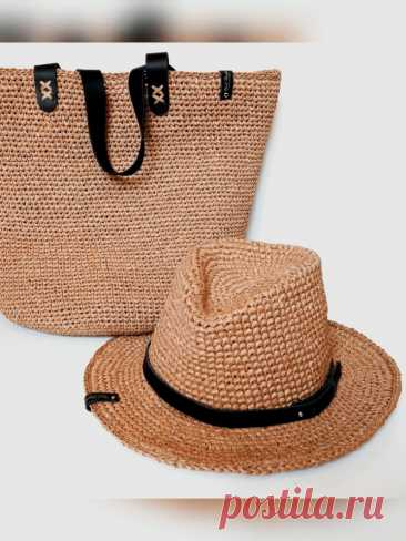 Сумка и шляпа из рафии (Вязание крючком) – Журнал Вдохновение Рукодельницы
