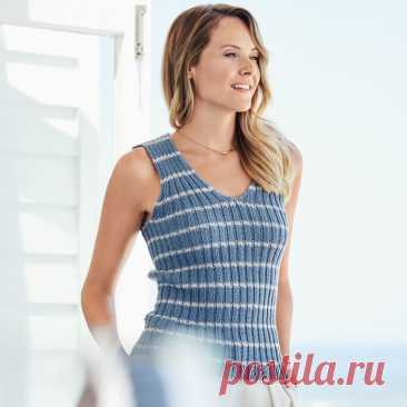 Striped top in an elastic band