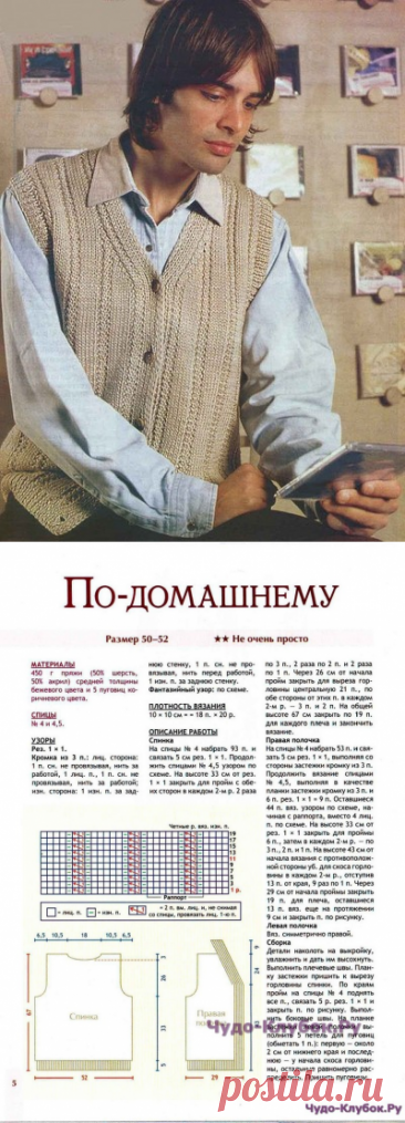 13 Жилет на пуговицах спицами мужской |ЧУДО-Клубок.рУ сайт вязания