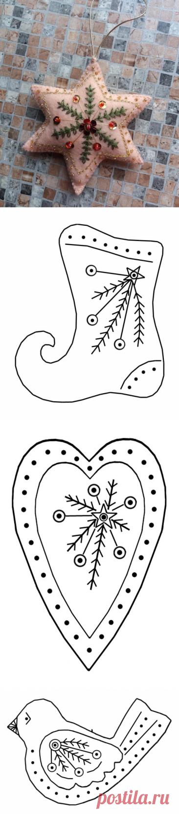 Винтажные елочные игрушки из фетра (5) | ВЕРА БУРОВА, канал про вышивку | Яндекс Дзен