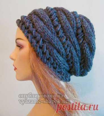 Шапка спицами с косами поперек от Вики   Вязание Шапок - Модные и Новые Модели