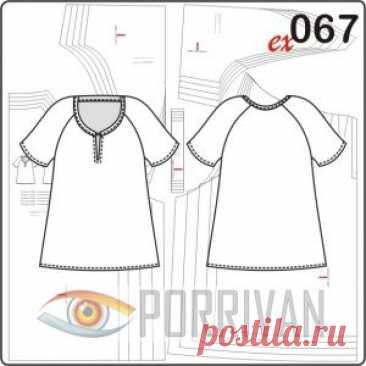 Выкройка блузки для полных женщин - Porrivan Выкройка блузки для полных женщин построена с удобными рукавами реглан, разрезом на полочке и имеет летящий покрой. Свободная и удобная летняя модель