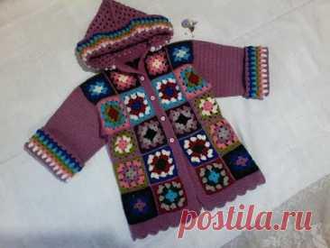 пальто с капюшоном вязаное крючком из мотивов на 3-4 года бабушкин квадрат