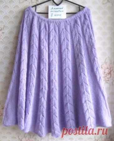 Сиреневая юбка из тонкого мохера спицами