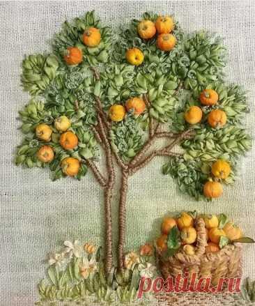 Объемная вышивка лентами: фрукты