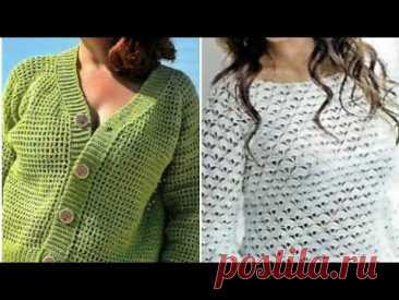 Модели пуловеров, жакетов крючком со схемами