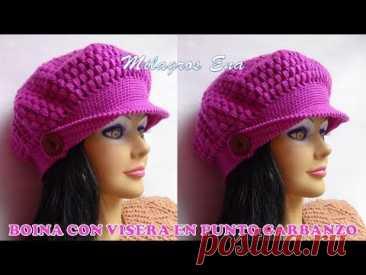 Boina a crochet con visera punto garbanzo para diferentes edades paso a paso