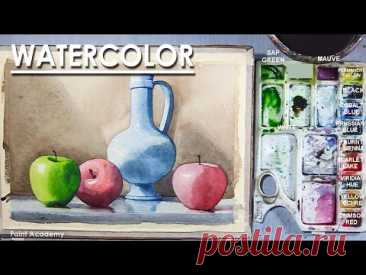 Watercolor Still Life Painting : Fruits and Jug | step by step